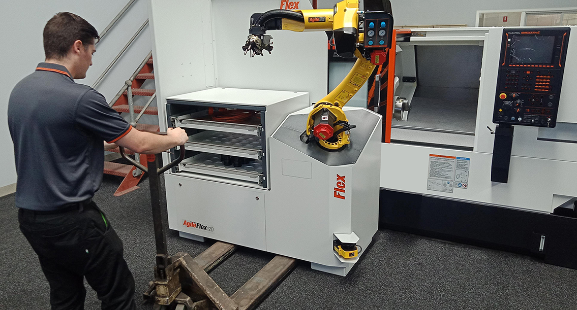 Agile Flex 12D set up on a Mazak Quick Turn 200